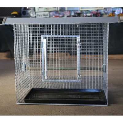 Front of chicken cage with door closed